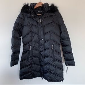 KENNETH COLE Long Black Puffer Coat NWT